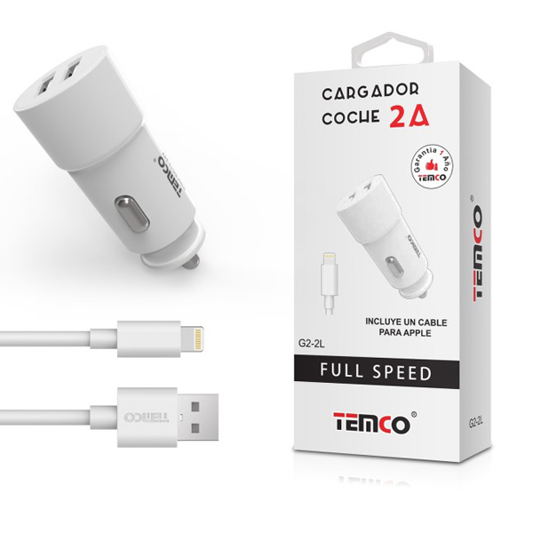 CARG CABLE TEMCO 2XUSB IPHONE 2.1A